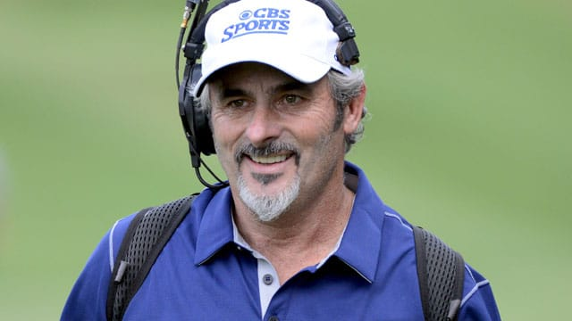David Feherty using headphones